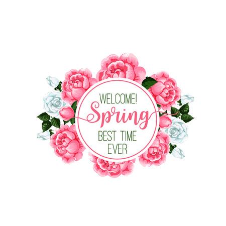 Springtime season roses flower bunch vector icon