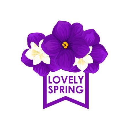 Spring time vector icon of seasonal crocuses flowers