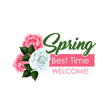 Spring time vector roses flowers bunch icon Illustration