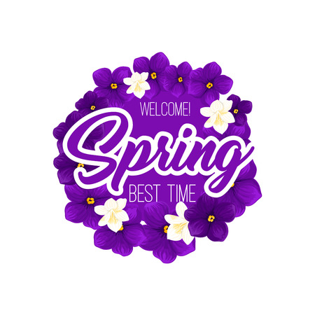 Springtime crocuses flowers vector spring time icon Stock Illustratie