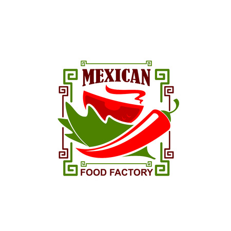 Vector jalapeno pepper icon for Mexican restaurant  イラスト・ベクター素材