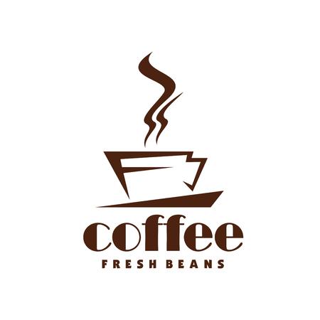 Hete koffie stoom cup vector lijn pictogram voor café
