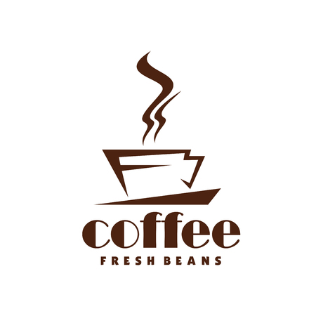 Hot coffee steam cup vector line icon for cafe