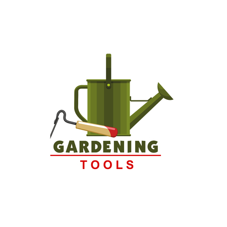 Farmer gardening watering can and hoe vector icon Illustration