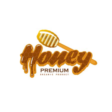 Vector icon of honey drops splash on dipper spoon