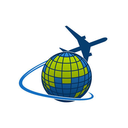 Vector icon of airplane jet over globe world