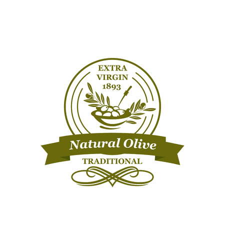 Vector olives icon for extra virgin olive oil