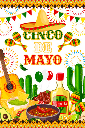 Mexican Cinco de Mayo vector fiesta poster design template
