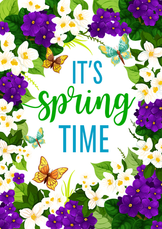 It's Spring Time poster with flowers and butterflies design. Ilustracja