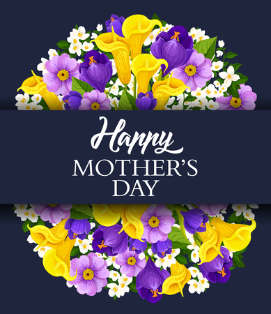 Mother's Day floral greeting card with calla lily and orchid or crocus flowers.