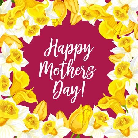Gelukkige moederdag wenskaart met bloemen boeketten. Vector bloemenontwerp van bloeiende tulpen of narcissenbossen voor Moederdagvieringsviering of de lentetijd