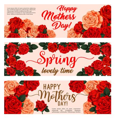 Blumenfahne des Frühlingsfeiertags mit Mutter-Tagesblumenblumenstrauß. Rosa und Rotrosen-Betriebsrahmen der blühenden Blumen- und Grünblattgrußkarte für festliches Design der Frühjahrjahreszeit Standard-Bild - 96682336