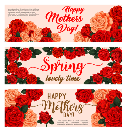 Spring holiday floral banner with Mothers Day flower bouquet. Pink and red rose plant frame of blooming flower and green leaf greeting card for Springtime season festive design Vettoriali
