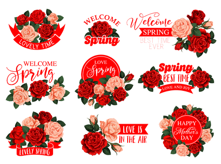 Vector rose flowers set for Mothers day spring holiday