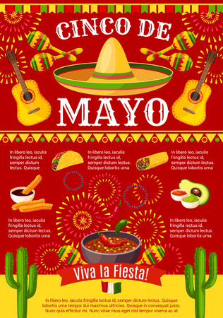 Mexican Cinco de Mayo vector holiday fiesta poster Illustration