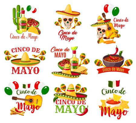 Labels set for Cinco de Mayo Çizim