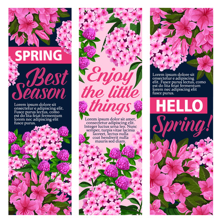 Vector spring flowers greeting banners vector set
