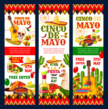 Cinco de Mayo mexican fiesta party invitation card Иллюстрация