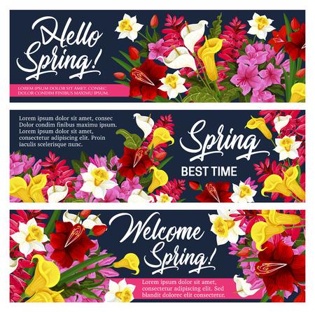 Spring flower greeting banner of Springtime design