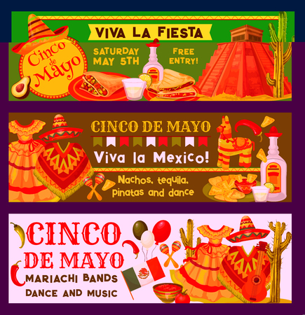 Cinco de Mayo Mexican holiday fiesta celebration banners or party inivtaion cards. Vector traditional Mexican sombrero, poncho and boho, jalapeno pepper or fajitas with Cinco de Mayo party guitar