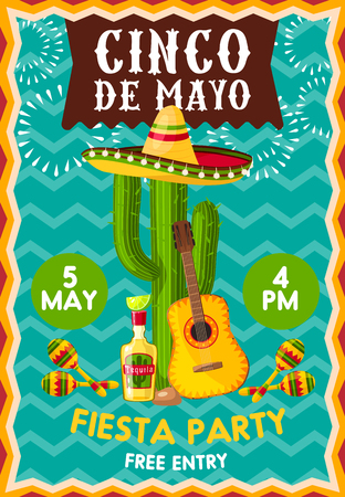 Chico de Mayo holiday celebration poster at bar or restaurant. Vector banner with symbolic Mexican elements sombrero hat on cactus, guitar, tequila and lime and maracas Illustration