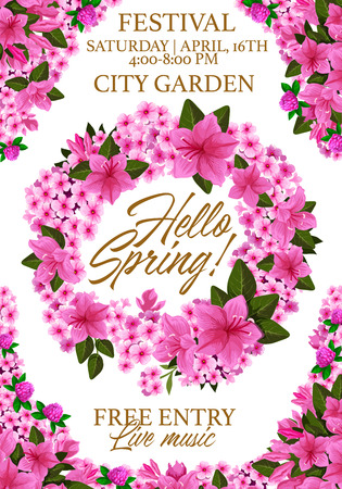 Vector springtime festival flowers poster