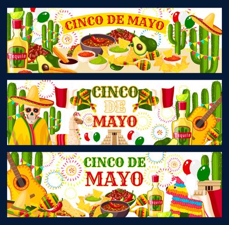 Cinco de Mayo Mexican vector greeting banners
