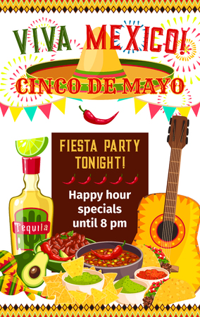 Mexican Cinco de Mayo vector fiesta invitation