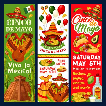 Cinco de Mayo Mexican vector fiesta invitation Illustration