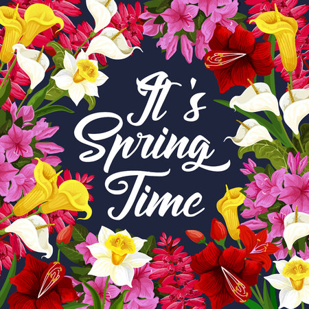 Springtime poster with spring season flower theme