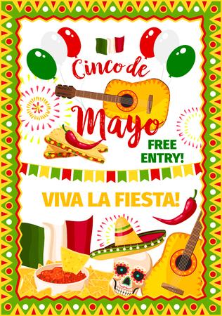 Cinco de Mayo fiesta Mexican vector greeting card Illustration