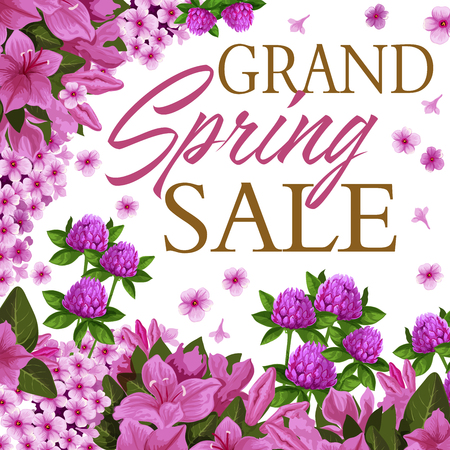 Spring season sale discount offer with floral theme banner Illustration