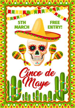 Cinco de Mayo Mexican party vector invitation