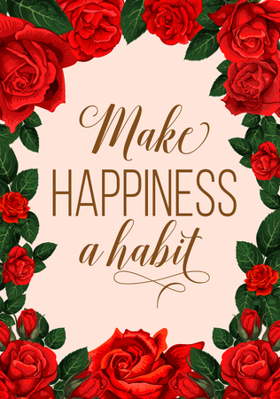 Make happiness a habit lettering with red flowers greeting card