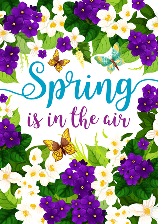Vector spring holiday card with flowers poster