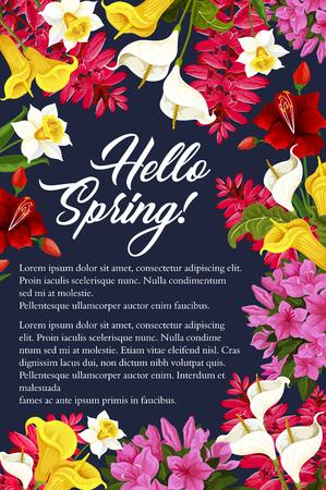 Vector lente wenskaart met bloemen bloeiende poster