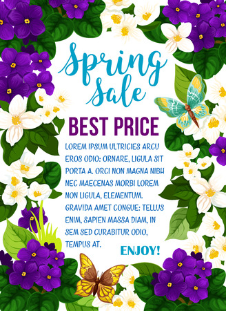 Vector spring sale poster with flowers and butterflies