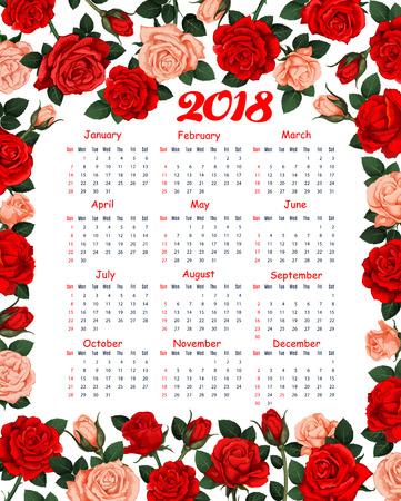 Calendar 2018 vector with floral design Illustration