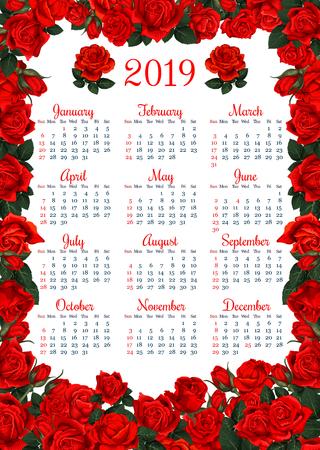 Floral calendar template in red rose flower frame Illustration