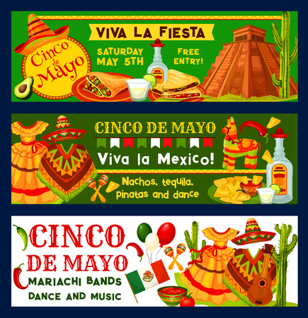 Cinco de Mayo Mexican vector fiesta party banners