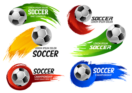 Vector soccer football ball sport game emblems illustration.