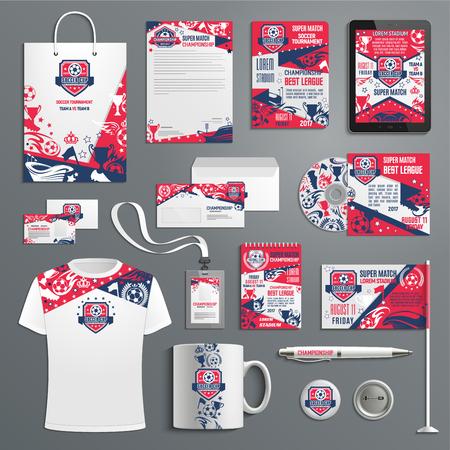 Advertising promo soccer football vector items illustration. Illustration