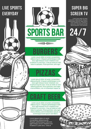 Vector soccer sport bar football beer pub menu illustration.