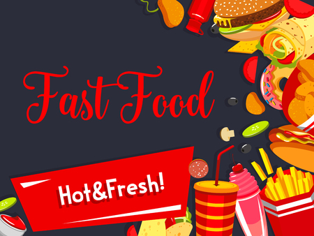 Vector fast food restaurant meals menu poster illustration.