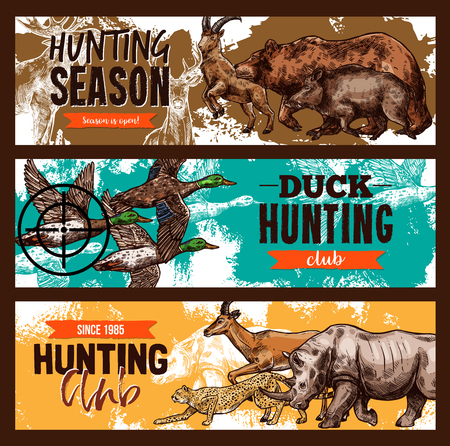 Vector sketch banners for wild hunting open season illustration. Illustration