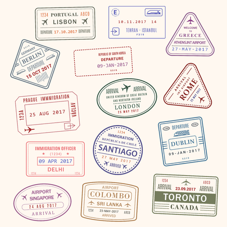 Passport stamp vector city and country icons set illustration. Ilustração