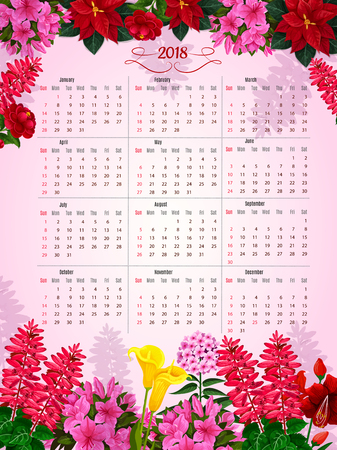 Floral calendar 2018 of flowers vector design illustration. Çizim