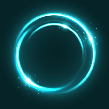 Vector neon light circle sparkles shine icon illustration.