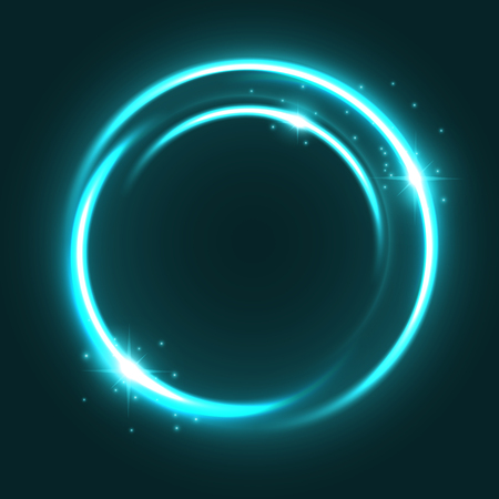 Vector neon light circle sparkles shine icon illustration.