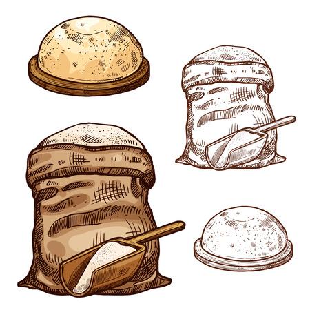 ベーキング小麦粉袋とパンのイラストのベクトルスケッチアイコン。